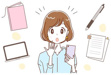 Femme montre des informations sur le travail sur smartphone illustration vectorielle Banque d'images - 97514043