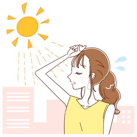 La mujer está desconcertada por la luz del sol