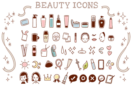 Collection set of beauty icons Stock Illustratie