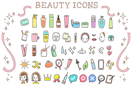 Collection set of beauty icons  イラスト・ベクター素材