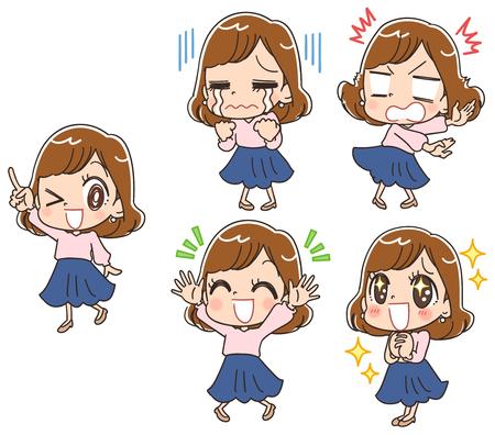 Collection de diverses expressions faciales de femmes jeunes et mignonnes Vecteurs