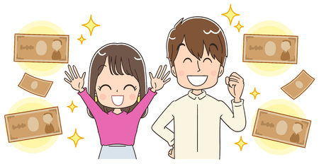 Young couple think about money  イラスト・ベクター素材