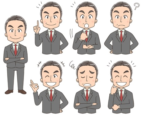 A collection of boss businessmen with various expressions
