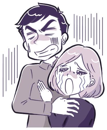 A couple facing despair 矢量图像