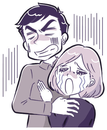 A couple facing despair Illustration