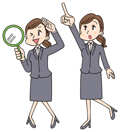 Business women are looking for something with magnifying glass and pointing obliquely upward. Ilustrace