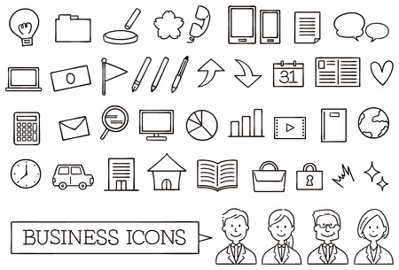 A collection of icons about business. Handwriting style. Line only.