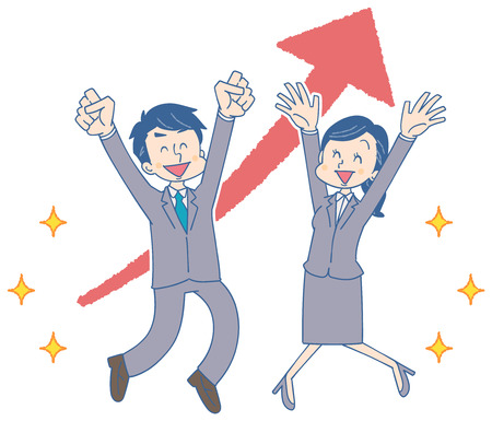 Businessmen and business woman are happy with success
