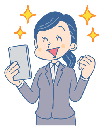 Business woman uses a smartphone. It looks happy. Illustration