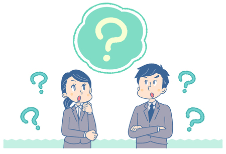Businessman and business woman think. Question mark is around
