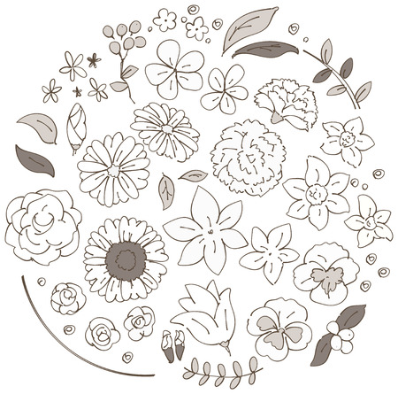 A collection of various flower icons. Handwriting style.