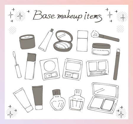 A collection of various base makeup items. Handwriting style.