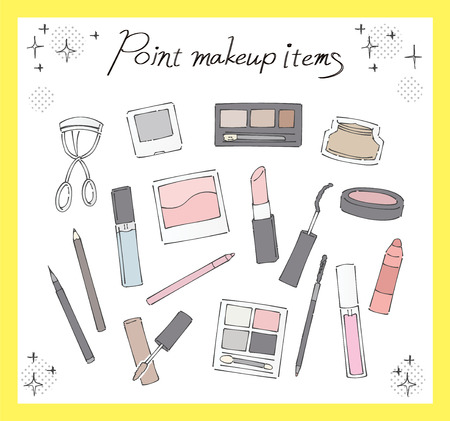 A collection of various point makeup items. Handwriting style. Vector Illustratie