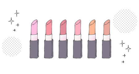 Lipsticks of various colors are lining up