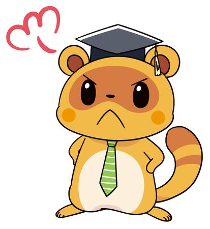 Cute raccoon character gets angry Illusztráció