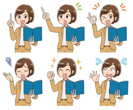 Colección de diversas expresiones faciales de mujeres de negocios. Tiene un libro en la mano.