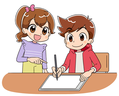 A boy is operating a tablet terminal while using a stylus pen. With A girl. Ilustração