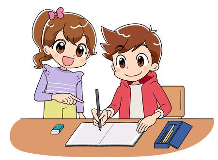 Un garçon étudie sur son cahier. Avec une fille.