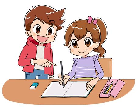 Una niña está estudiando en un cuaderno. Con un chico. Ilustración de vector