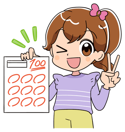 A girl is delighted to have a test paper of 100 points.