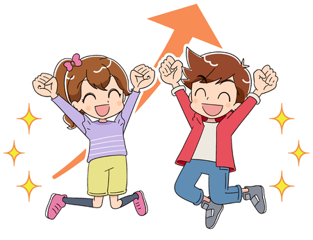 A boy and a girl are jumping with joy. They are pushing up the fist.
