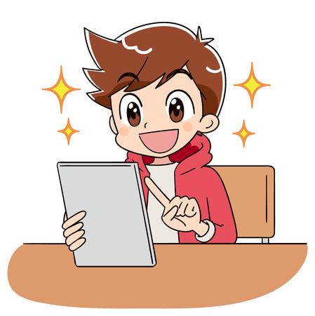 Un niño está operando el terminal de tableta. Él está brillando con alegría.