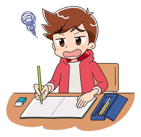 Un niño está estudiando. Tiene una mirada triste. Ilustración de vector