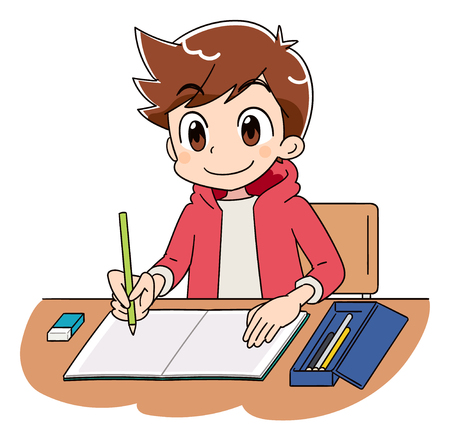 A boy is working on studying.
