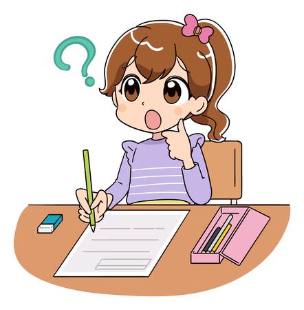Ein Mädchen hat ein Fragezeichen, während es an einem Test arbeitet.