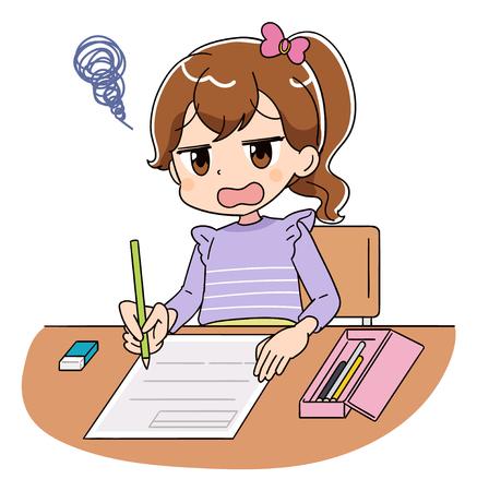 Ein Mädchen arbeitet an dem Test. Sie kann die Fragen nicht verstehen.