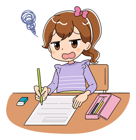 A girl is working on the test. She can not understand the questions.