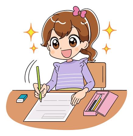 Une fille travaille sur le test. Elle brille pleine d'espoir avec un sourire.