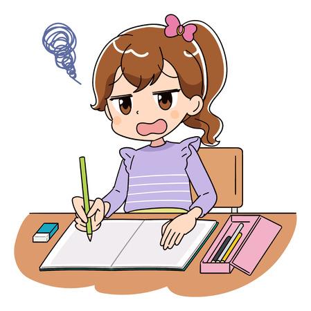 Una ragazza sta studiando. Ha uno sguardo deludente.