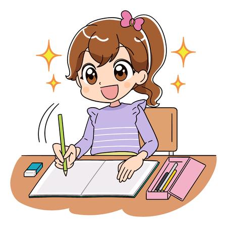 Une fille travaille sur les études. Elle est souriante, pleine d'espoir et rayonnante.