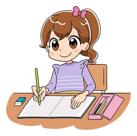 Une fille travaille sur les études. Vecteurs