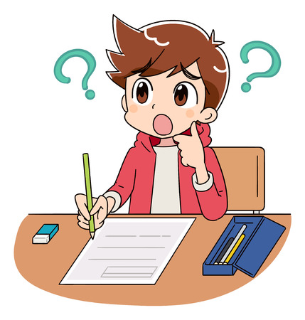A boy is working on the test. He can not understand the question. With a question mark.