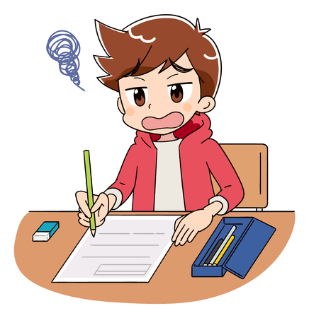 A boy is working on the test. He is saddened because he can not understand the test.