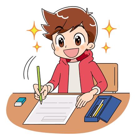 Een jongen werkt aan de test. Hij straalt vol hoop met een glimlach. Vector Illustratie