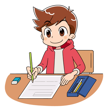 Ein Junge arbeitet an dem Test. Vektorgrafik