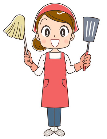 A housewife has cleaning tools and cooking utensils Vector Illustration