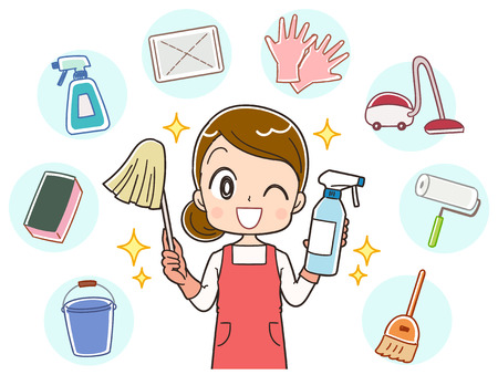A housewife does a variety of cleaning
