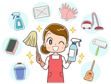 Une femme au foyer fait une variété de nettoyage