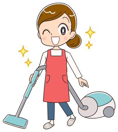 A housewife uses a vacuum cleaner.