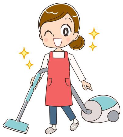 Une femme au foyer utilise un aspirateur.