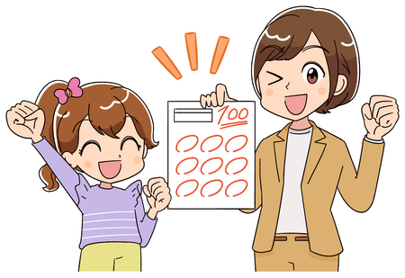 A girl and the teacher are pleased to see the test paper. 일러스트