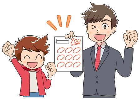 Die Lehrerin und der Junge A freuen sich über das Testpapier.