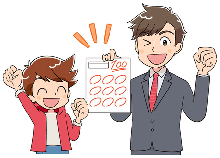 The teacher and A boy are delighted to see the test paper.