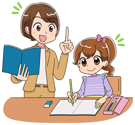 De leraar leert een meisjesstudie