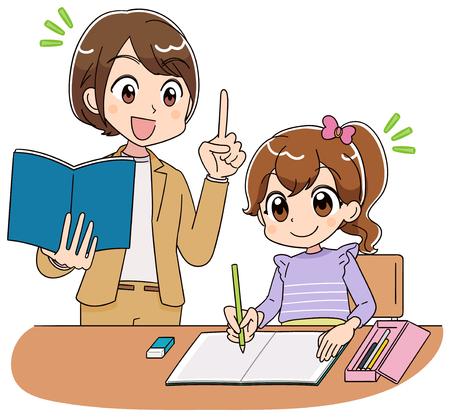 La maestra enseña a una niña a estudiar.