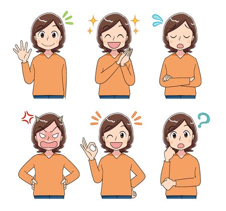 Vrouwen van middelbare leeftijd maken verschillende uitingen. Vector Illustratie